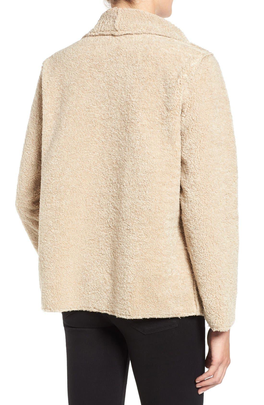 Alternate Image 2  - Velvet by Graham & Spencer 'Lux' Reversible Faux Shearling Drape Front Jacket