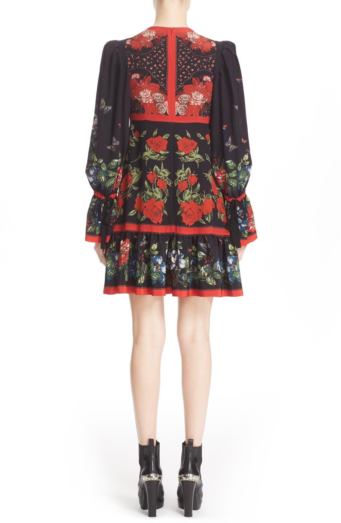 Alternate Image 2  - Alexander McQueen Floral Print Silk Dress