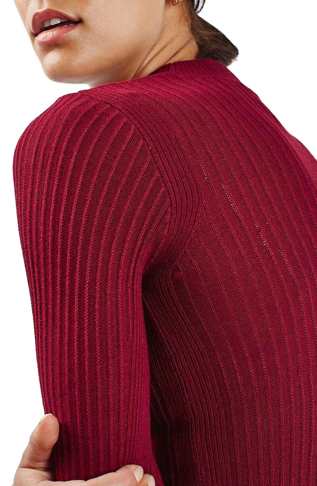 Alternate Image 5  - Topshop Textured Stripe Mock Neck Sweater