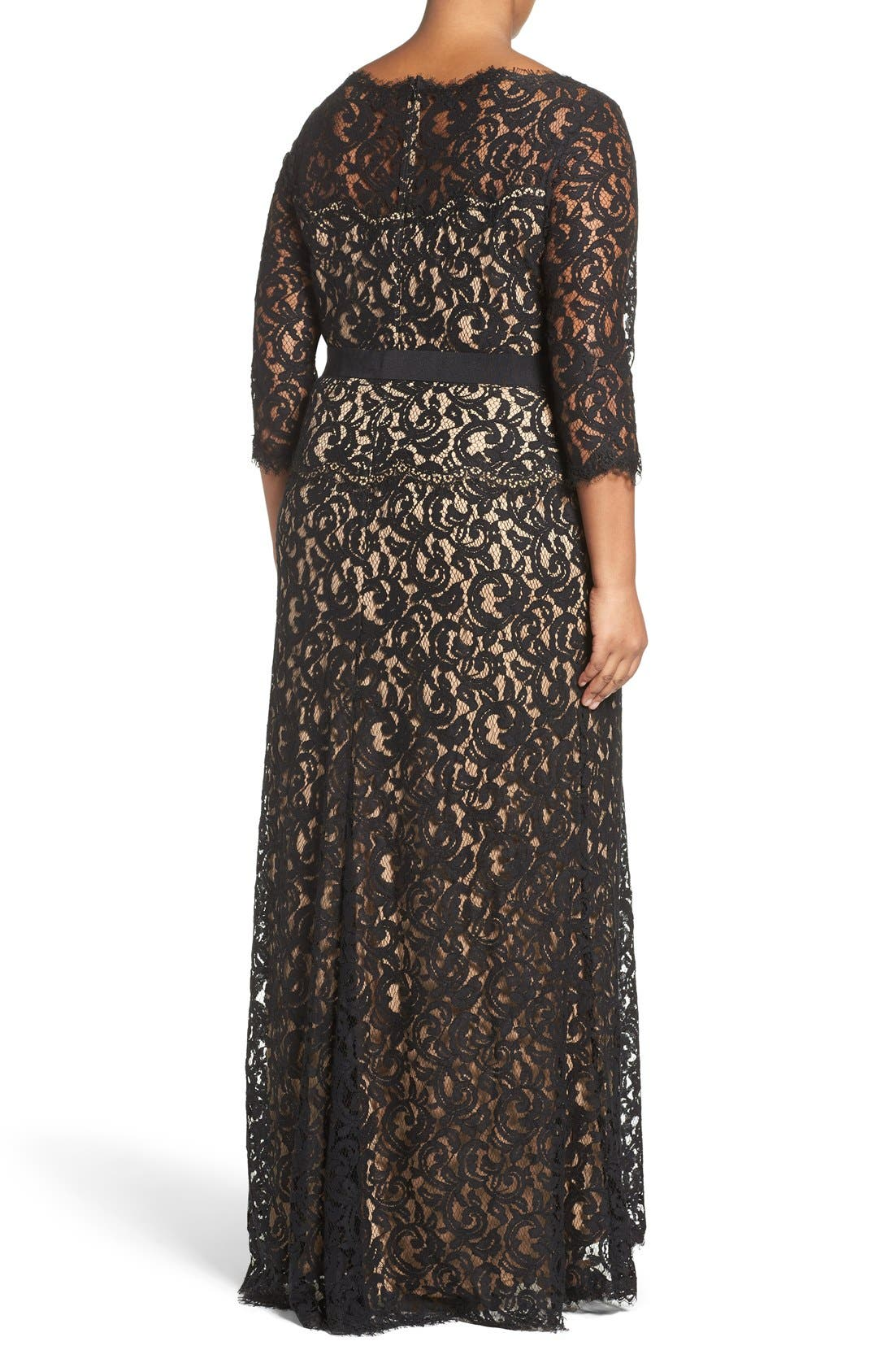 Alternate Image 2  - Tadashi Shoji Mock Two Piece Lace Gown (Plus Size)