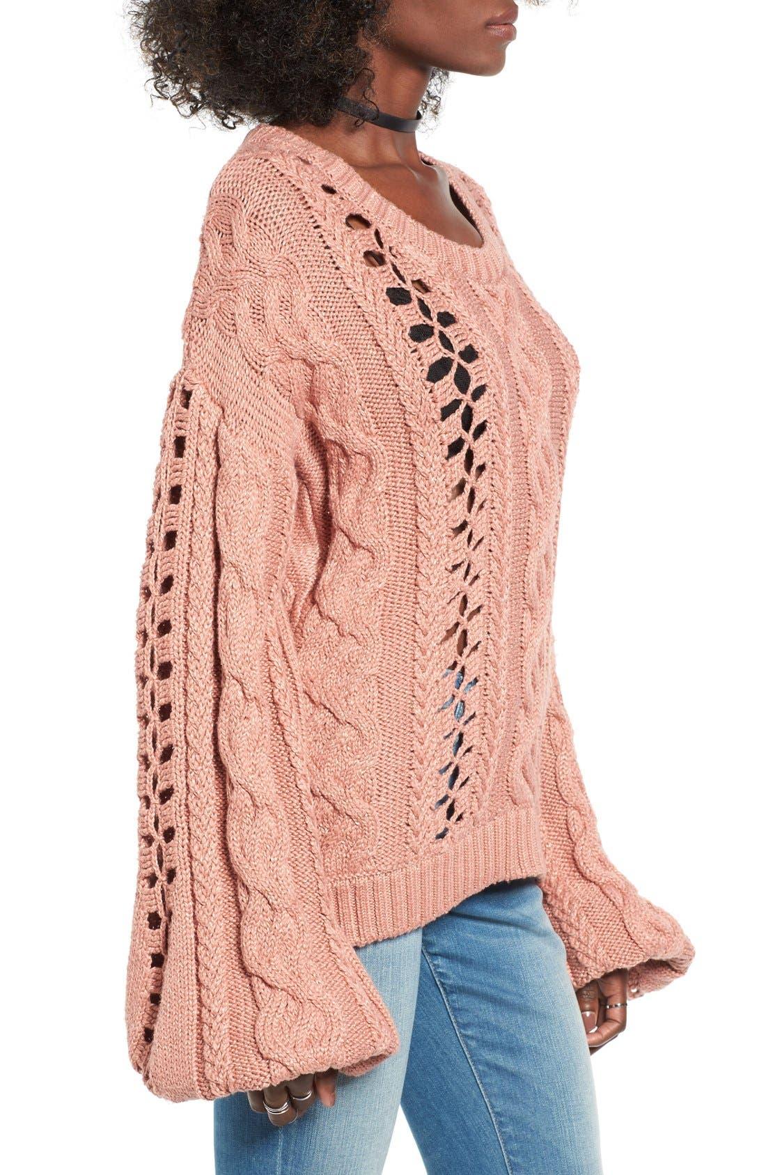 Alternate Image 3  - For Love & Lemons Wythe Openwork Bell Sleeve Sweater