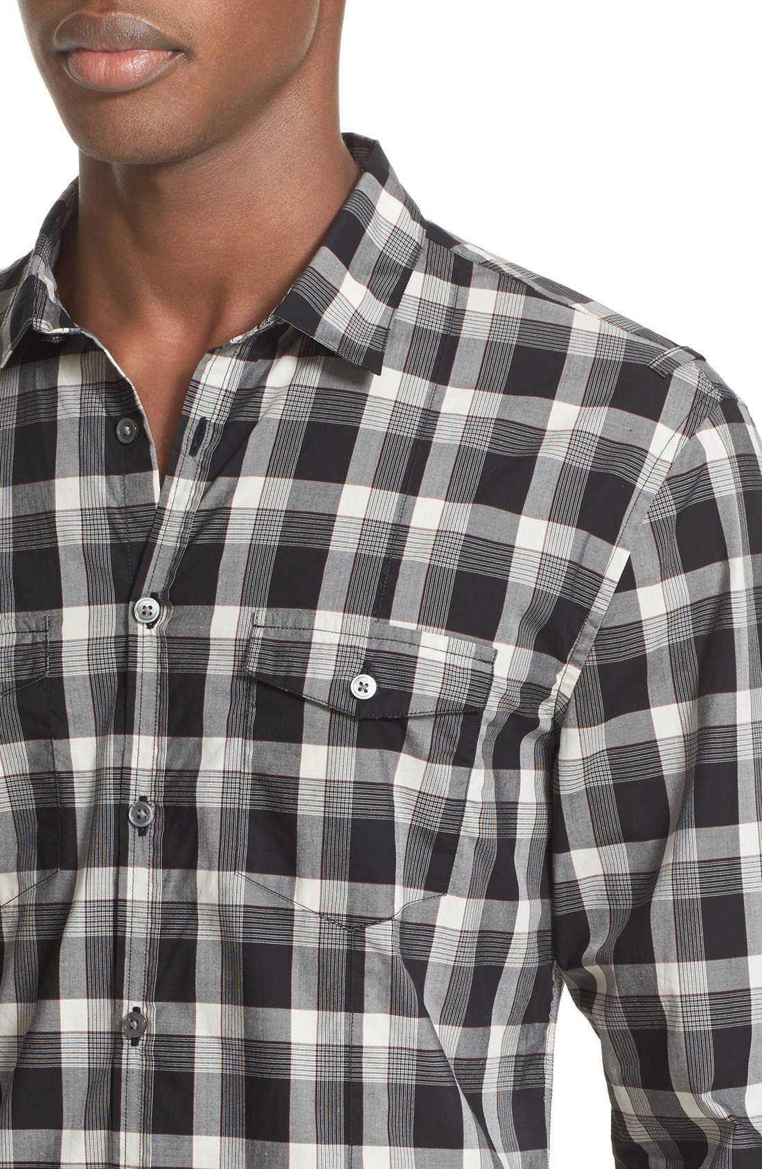 Alternate Image 5  - John Varvatos Collection Slim Fit Plaid Military Shirt