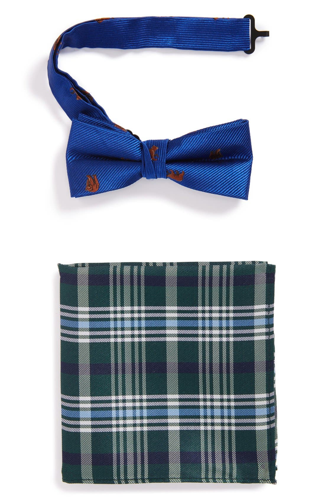 NORDSTROM Bear Pattern Silk Bow Tie & Plaid
