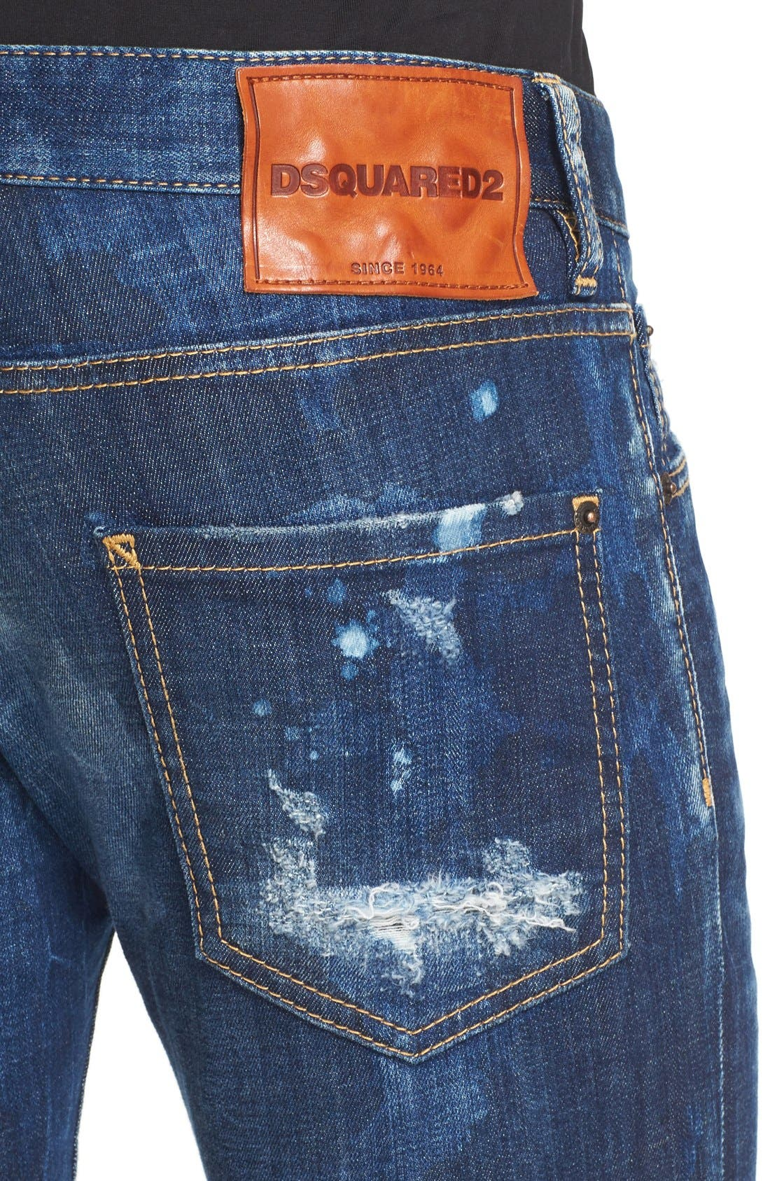 Alternate Image 4  - Dsquared2 'Clement American Pie' Distressed Fray Hem Skinny Jeans