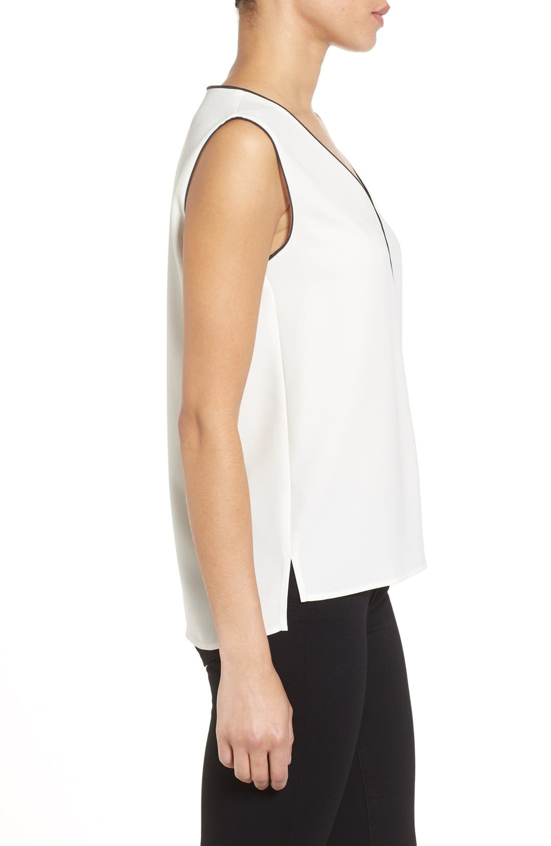 Alternate Image 3  - Halogen® Piped V-Neck Sleeveless Top (Regular & Petite)