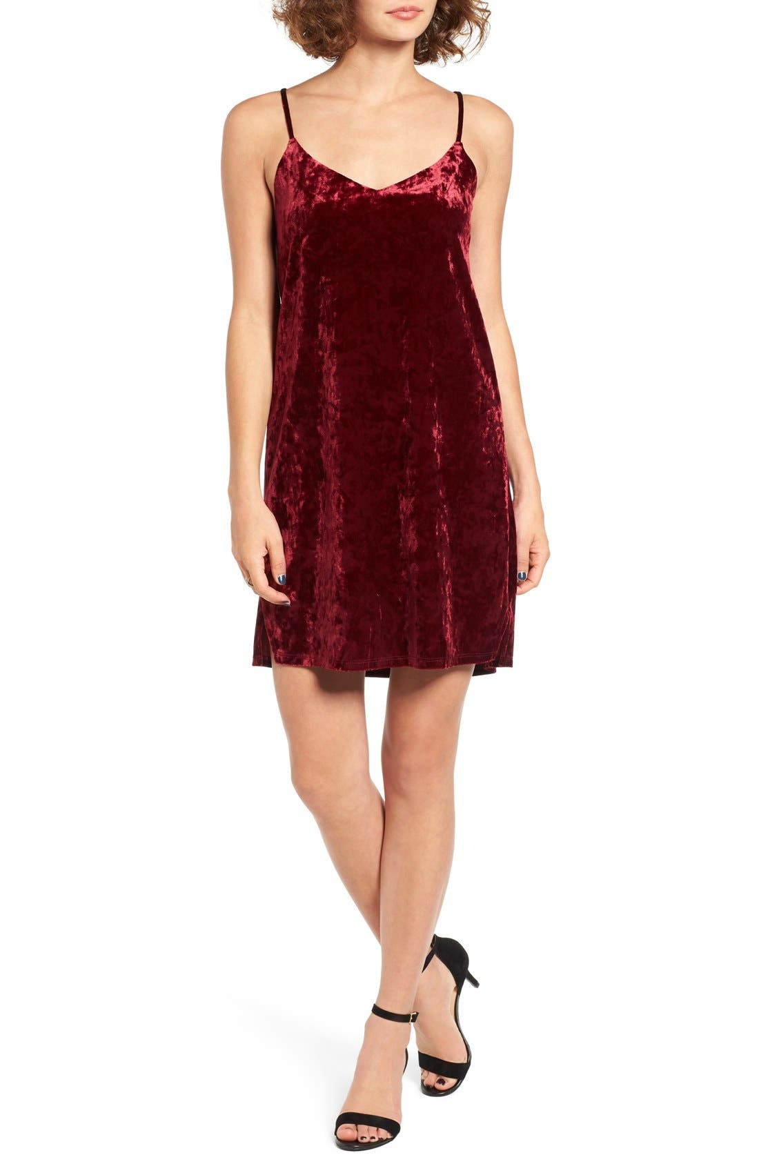 Alternate Image 1 Selected - Socialite Crushed Velvet Camisole Swing Dress