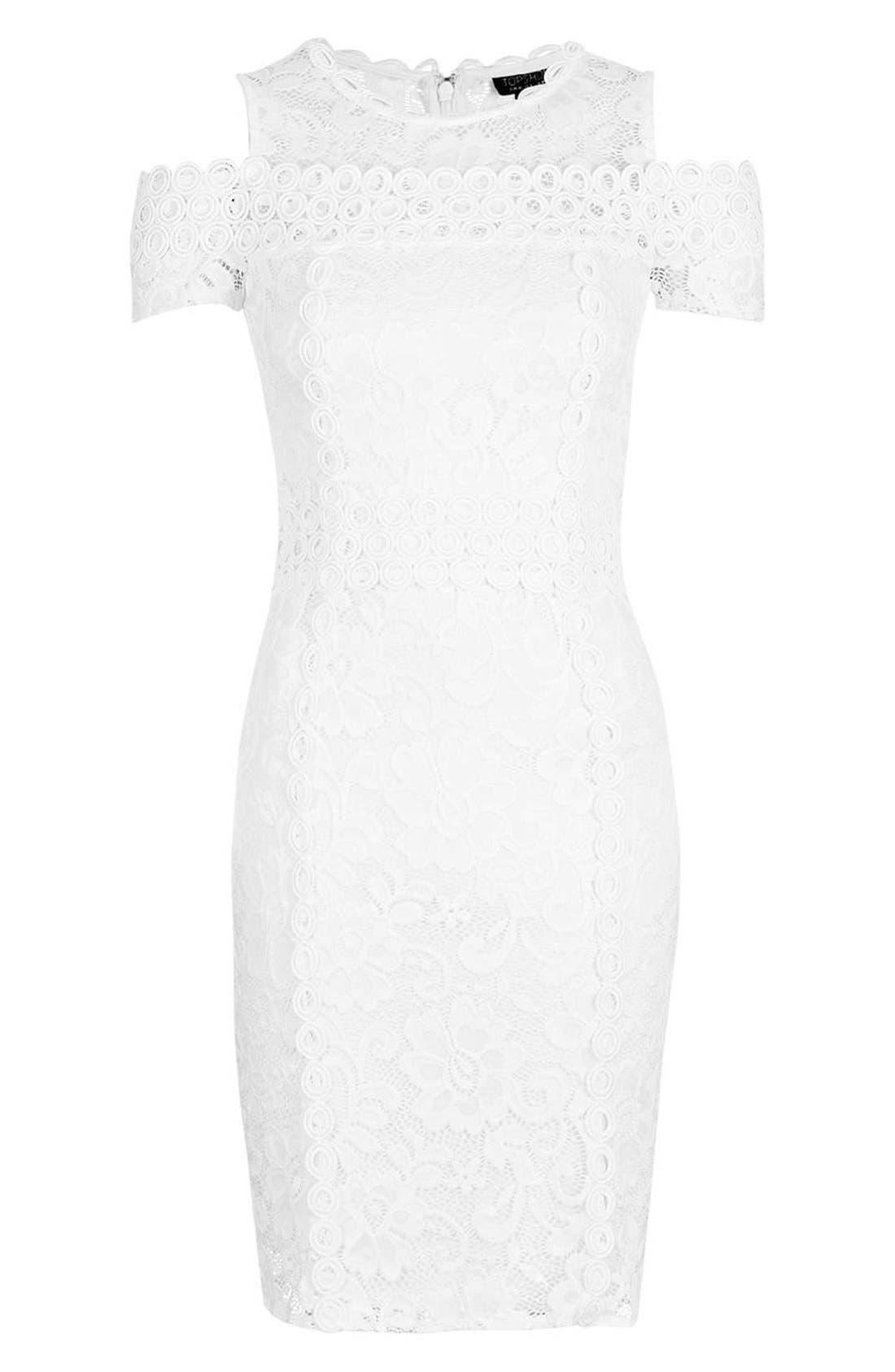 Alternate Image 4  - Topshop Cold Shoulder Lace Body-Con Dress