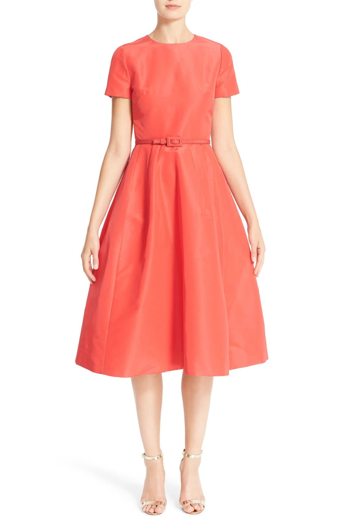 CAROLINA HERRERA Belted Silk Faille A-Line Dress