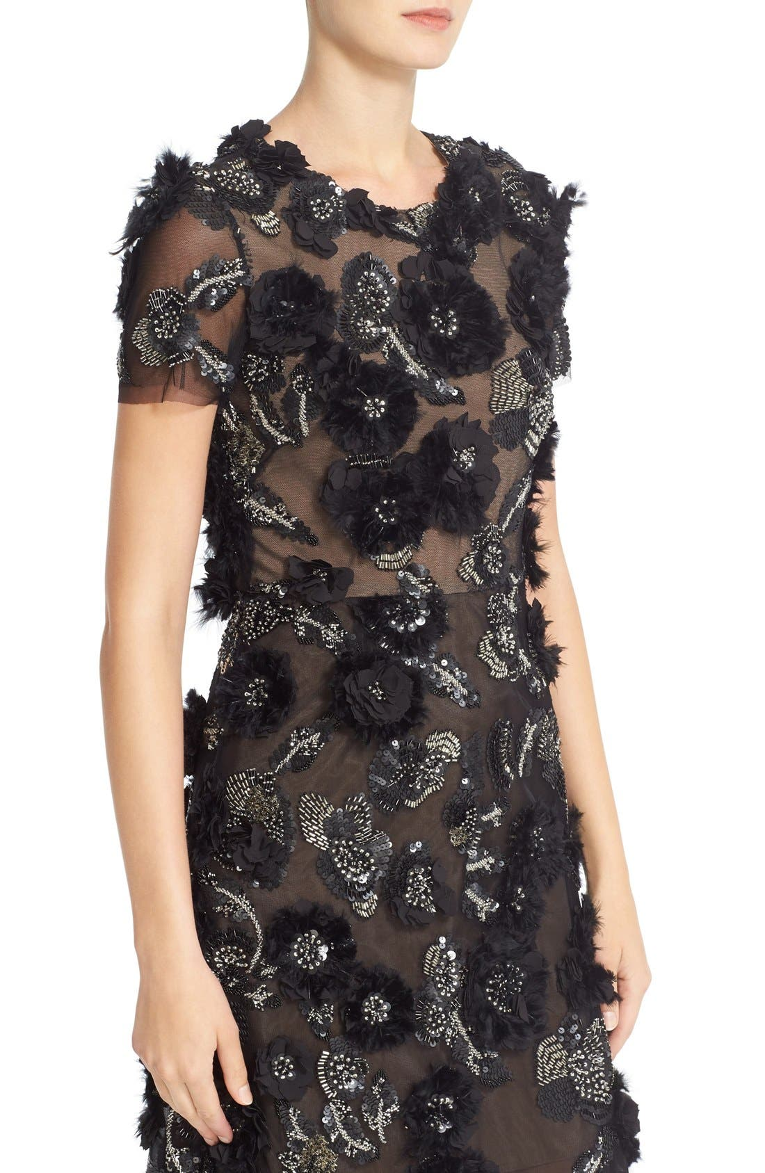 Alternate Image 5  - Marchesa Cap Sleeve Tulle Dress with 3D Floral Embellishments