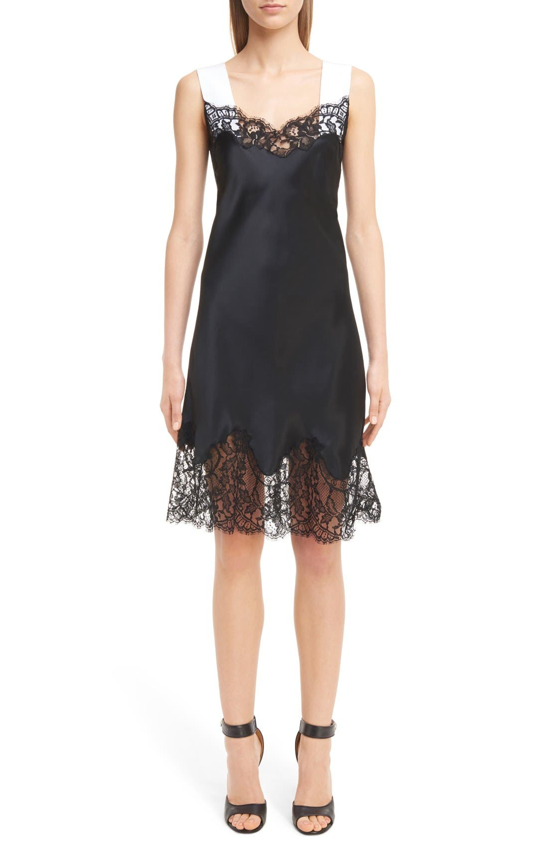 GIVENCHY Lace Trim Bicolor Satin Slipdress