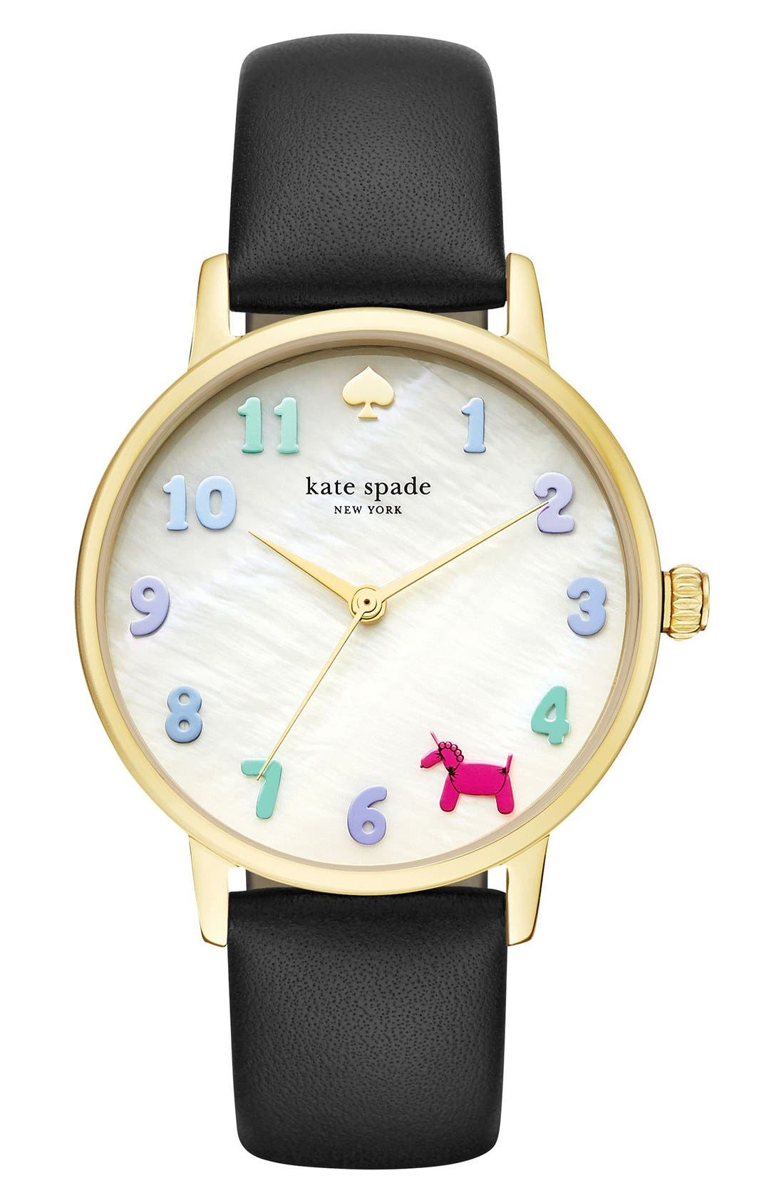 kate spade new york metro balloon leather strap watch, 34mm