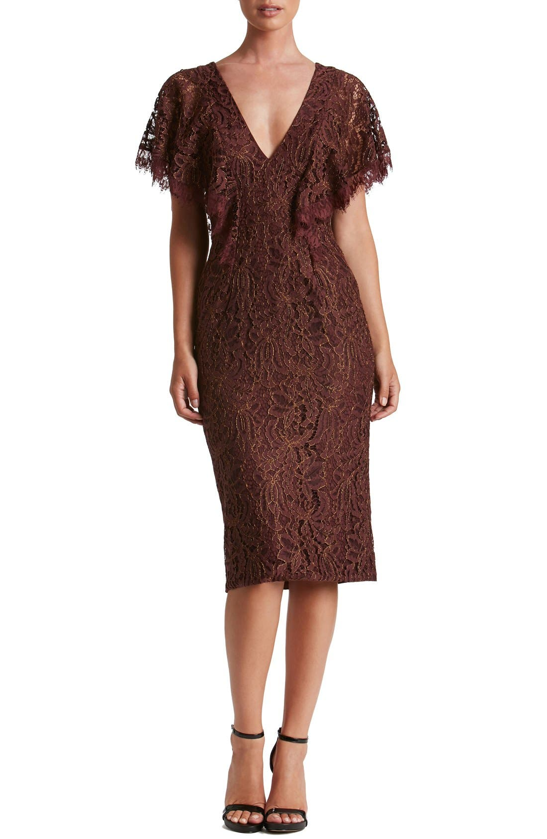Main Image - Dress the Population Lidia Lace Midi Dress