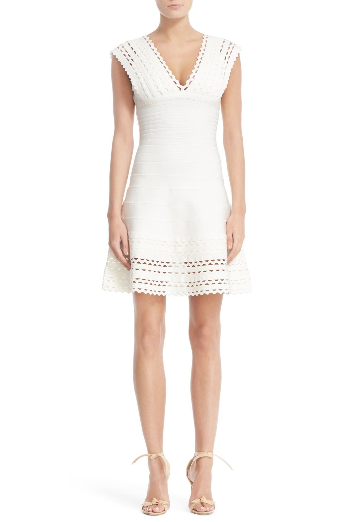 HERVE LEGER Lace Fit & Flare Bandage Dress