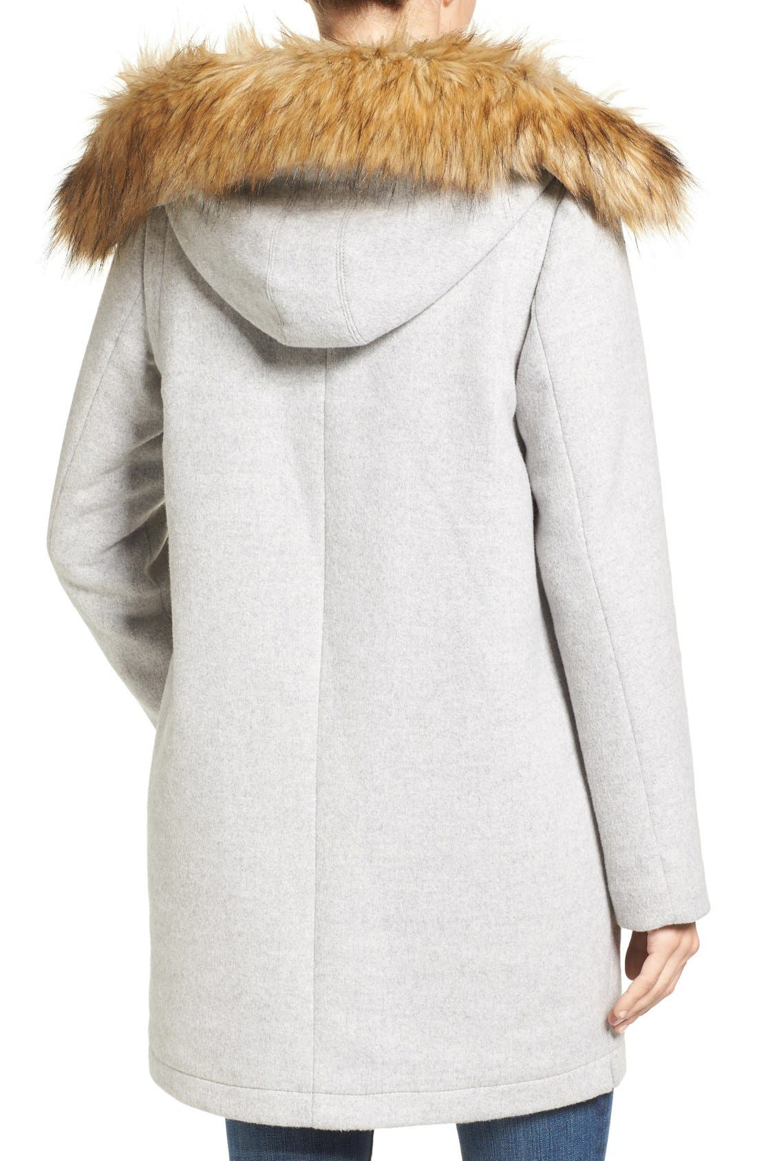 Alternate Image 2  - Vince Camuto Wool Blend Duffle Coat with Faux Fur Trim Hood