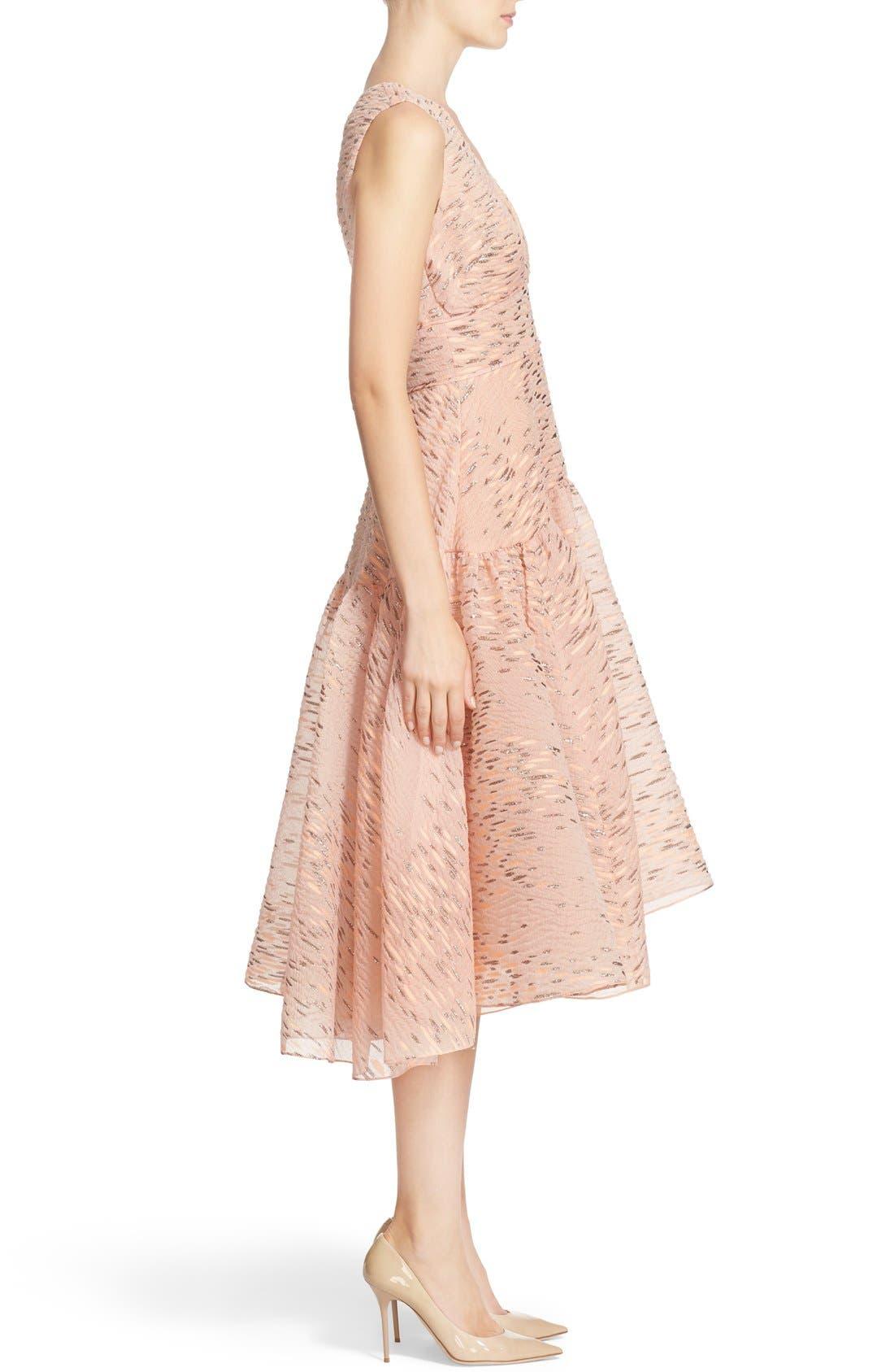 Alternate Image 5  - Lela Rose Minnow Metallic Fil Coupé Dress