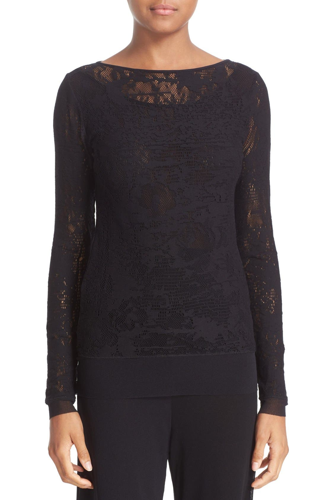 FUZZI Long Sleeve Lace Top