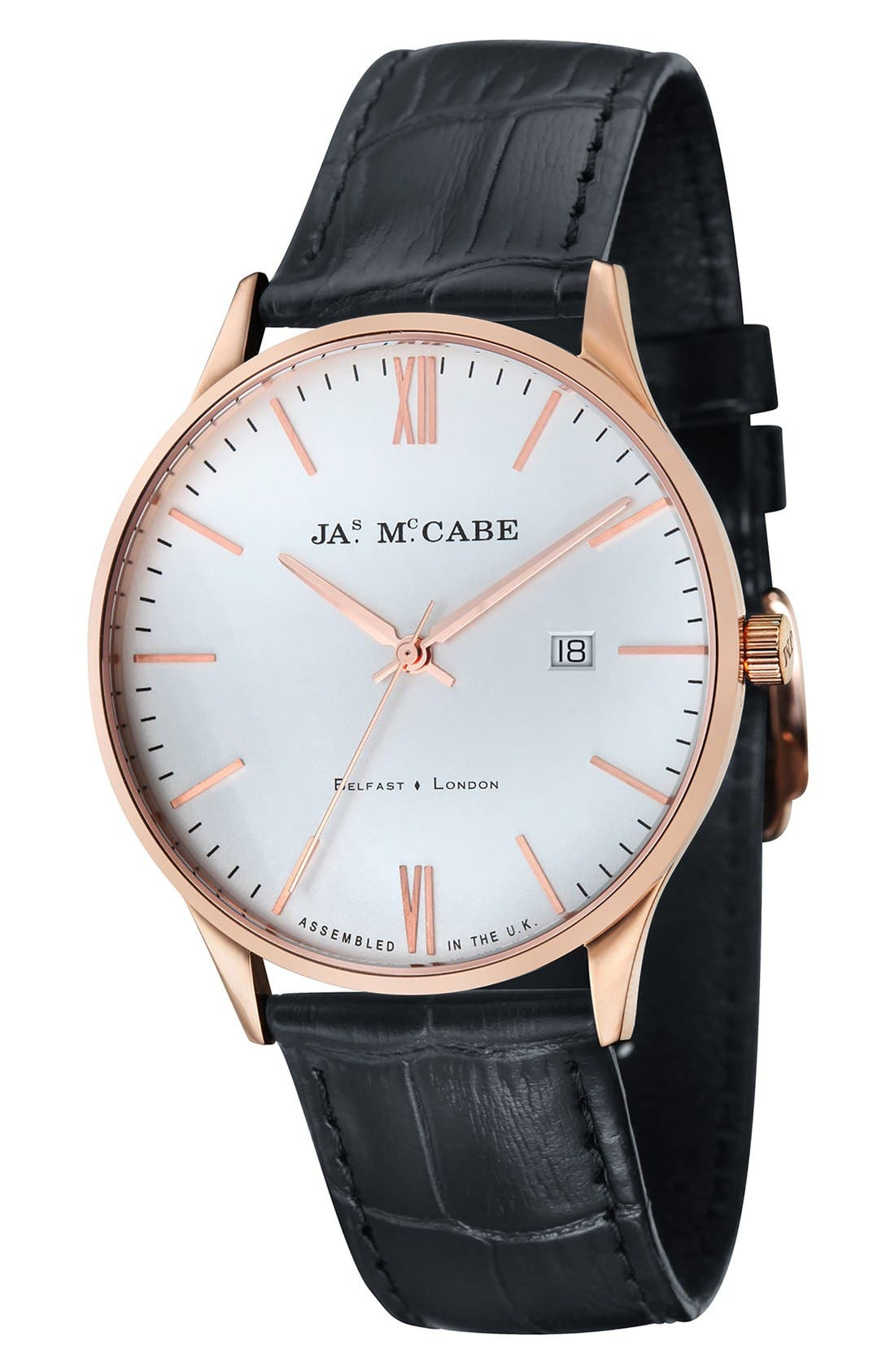 JAMES MCCABE London Leather Strap Watch, 43mm