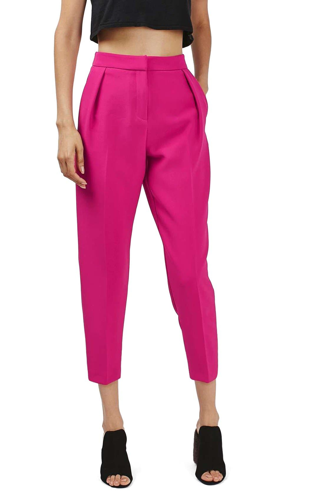 Main Image - Topshop Structured Peg Trousers