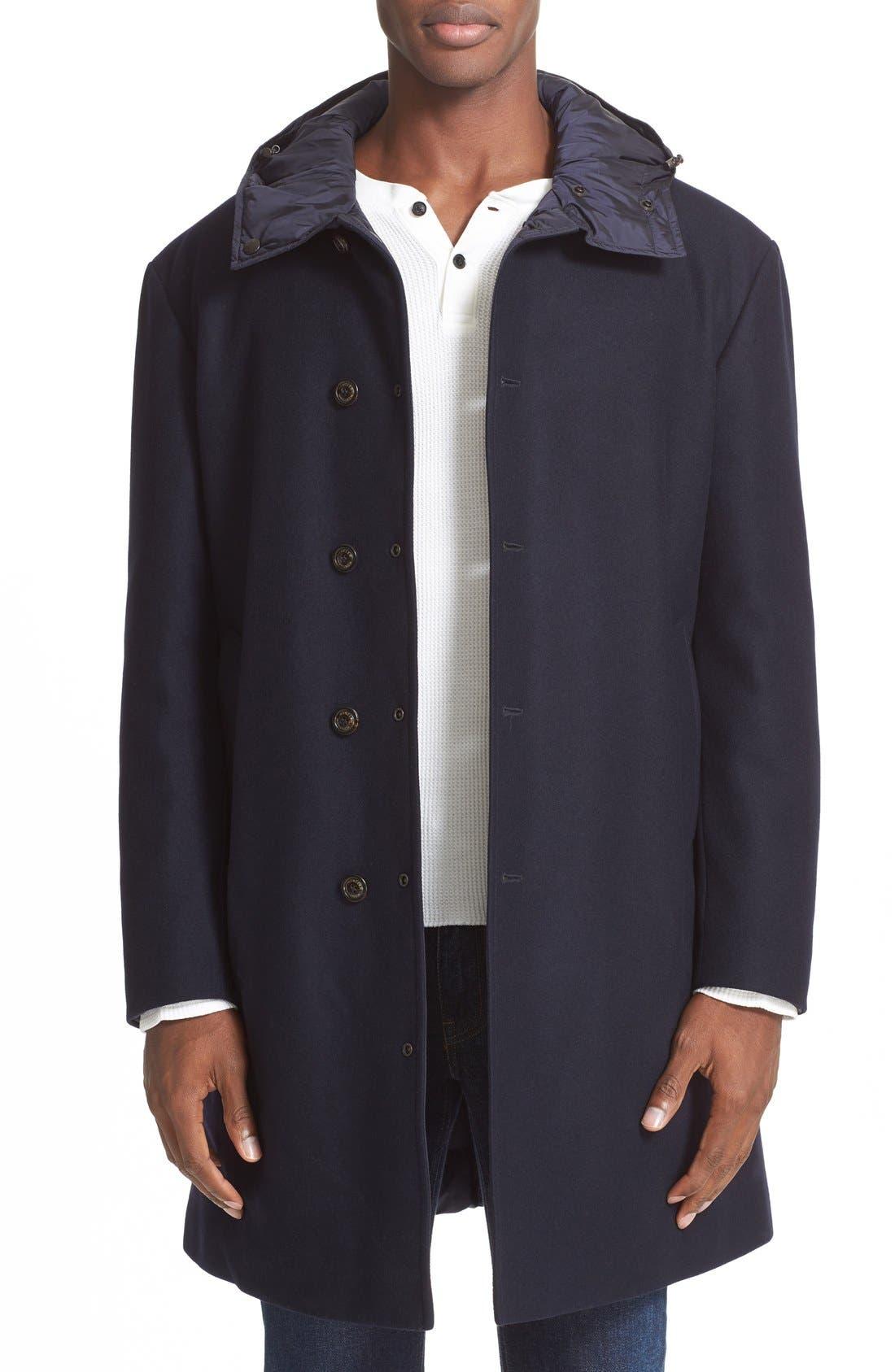 MONCLER Tilleul Reversible Hooded Down Overcoat