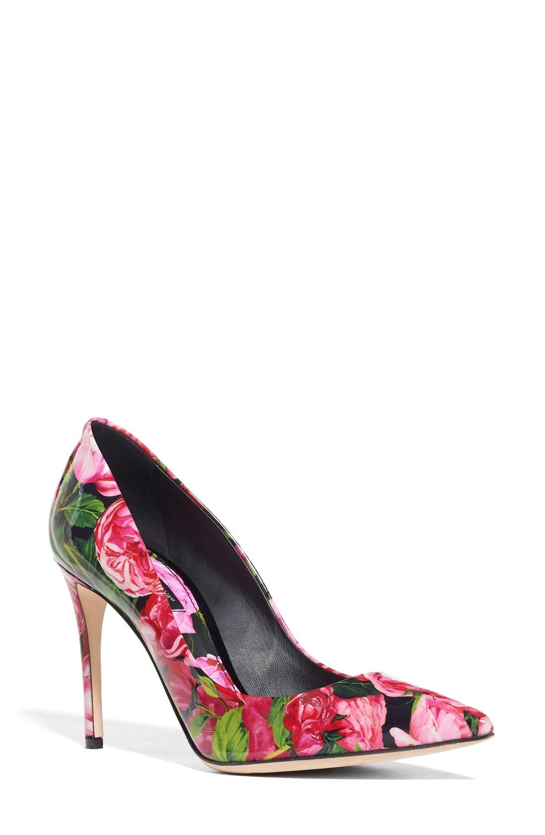 DOLCE&GABBANA Rose Print Pointy Toe Pump