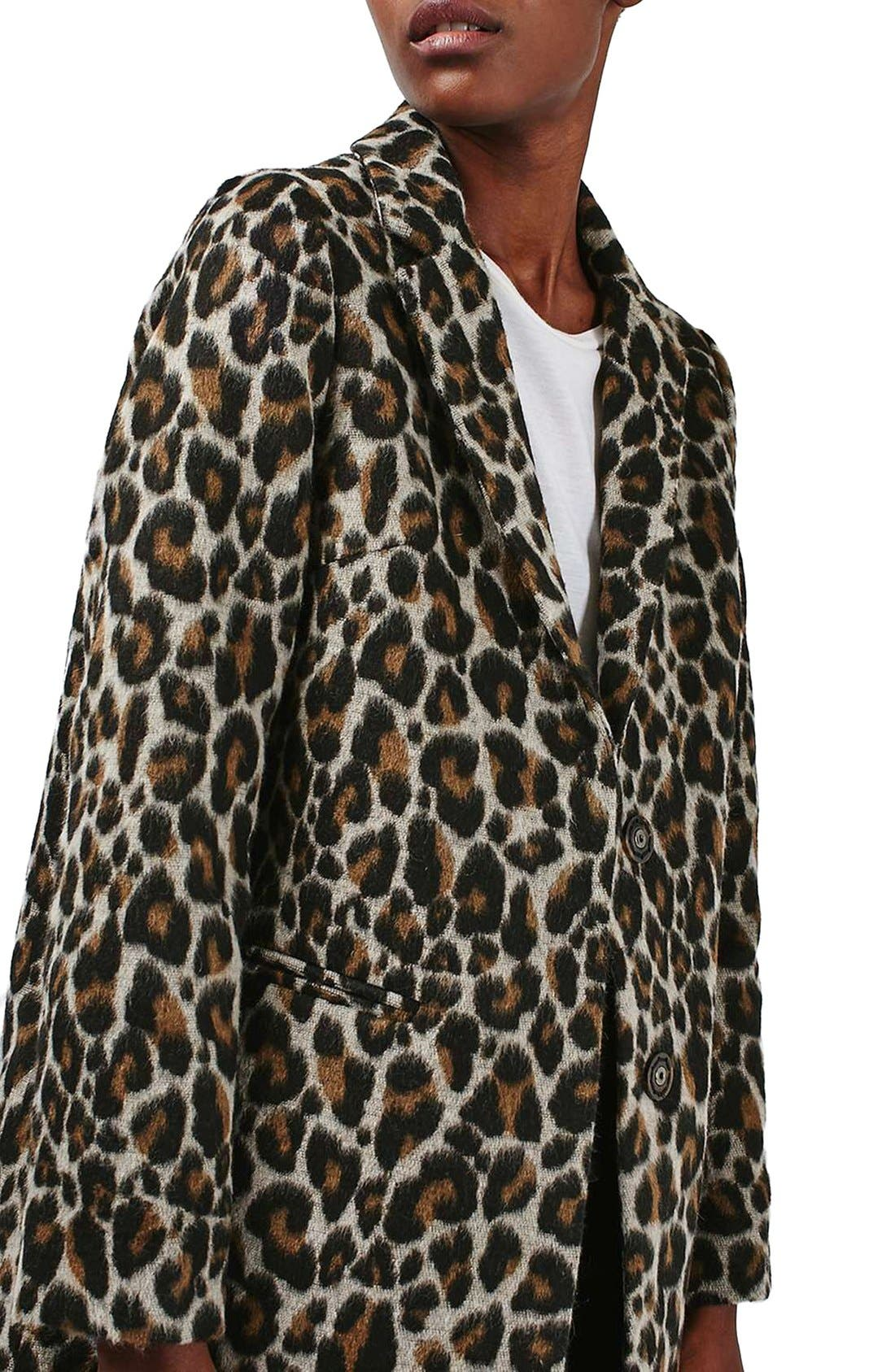 Alternate Image 6  - Topshop Leopard Print Car Coat