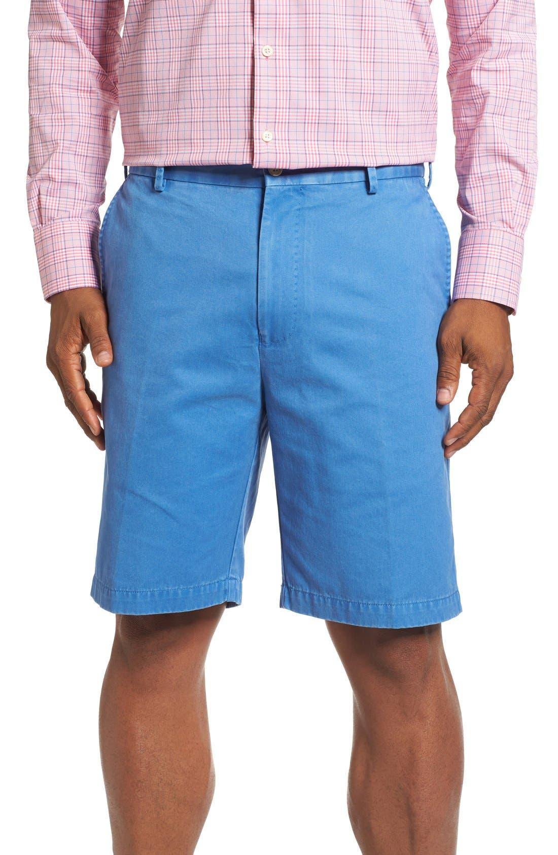 Peter Millar 'Winston' Washed Twill Flat Front Shorts