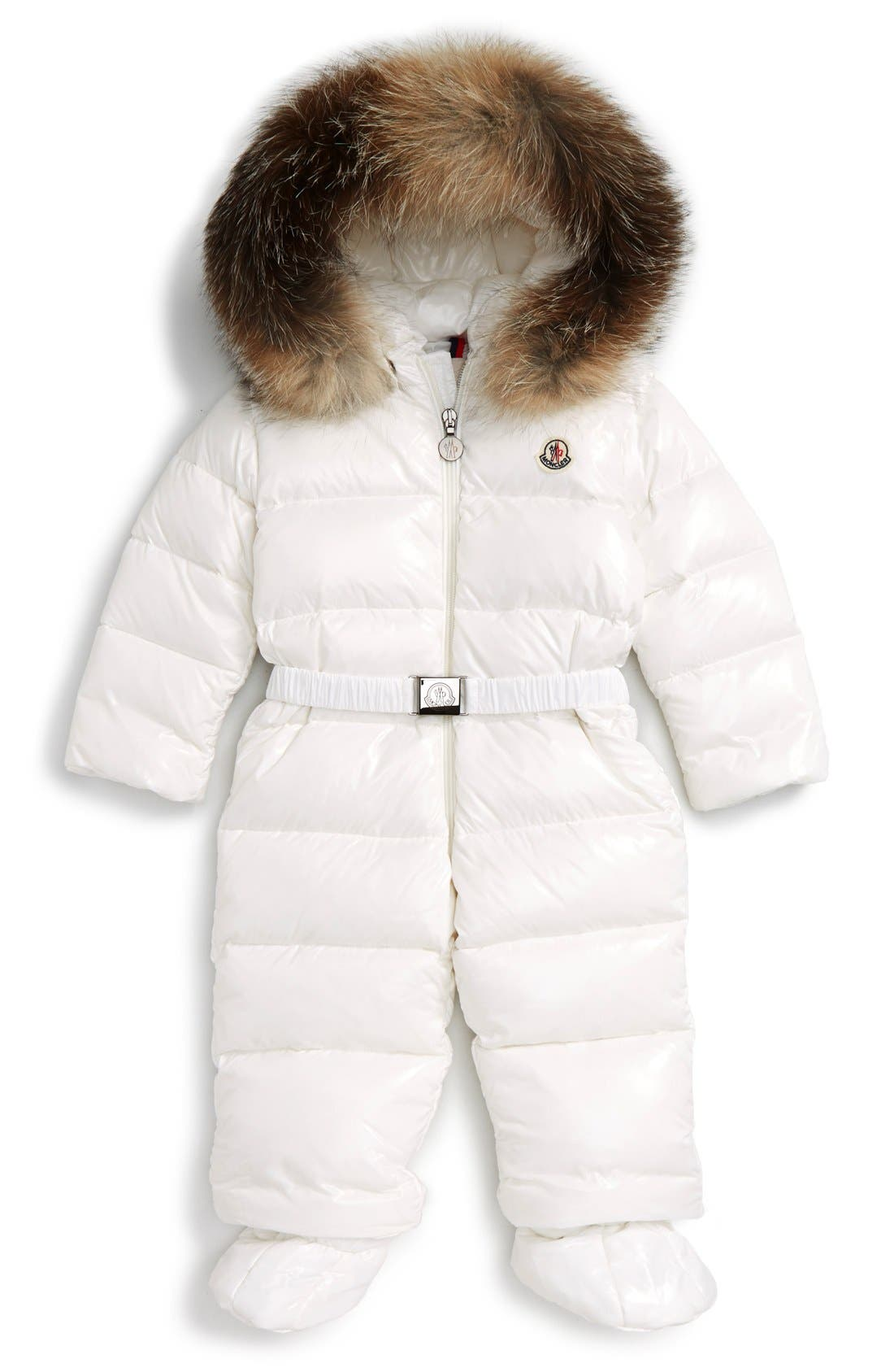 Moncler Crystal Down Snowsuit with Genuine Fox Fur Trim (Baby Girls)