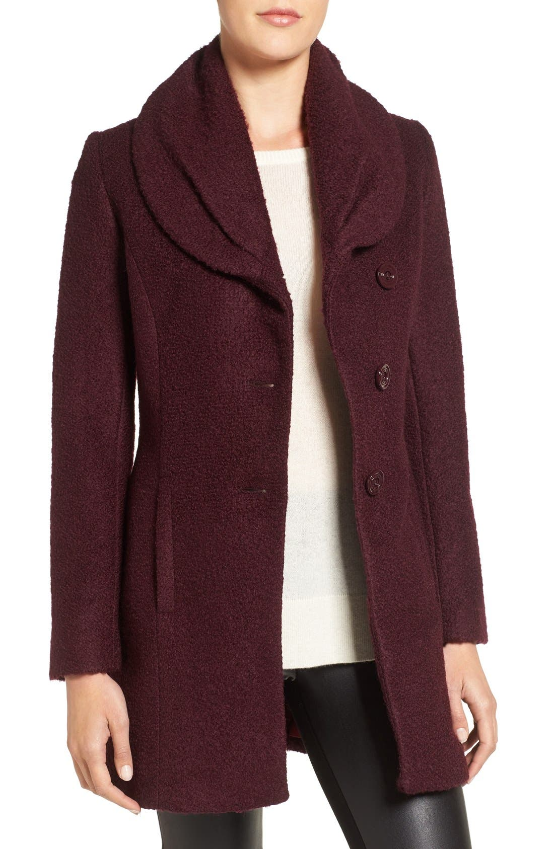 Alternate Image 1 Selected - CeCe Josie Shawl Collar Asymmetrical Bouclé Coat