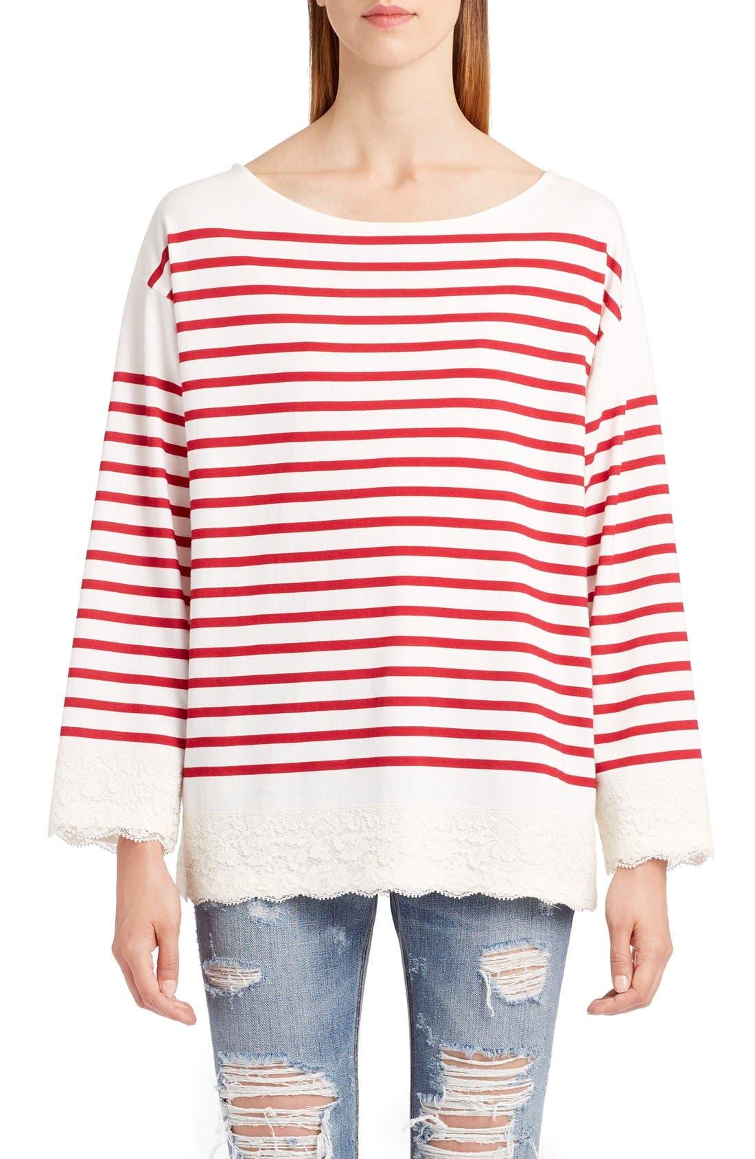 Alternate Image 1 Selected - Dolce&Gabbana Lace Stripe Tee