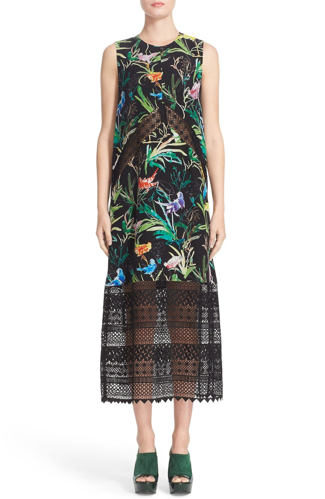 N°21 Tropical Print Silk Midi Dress