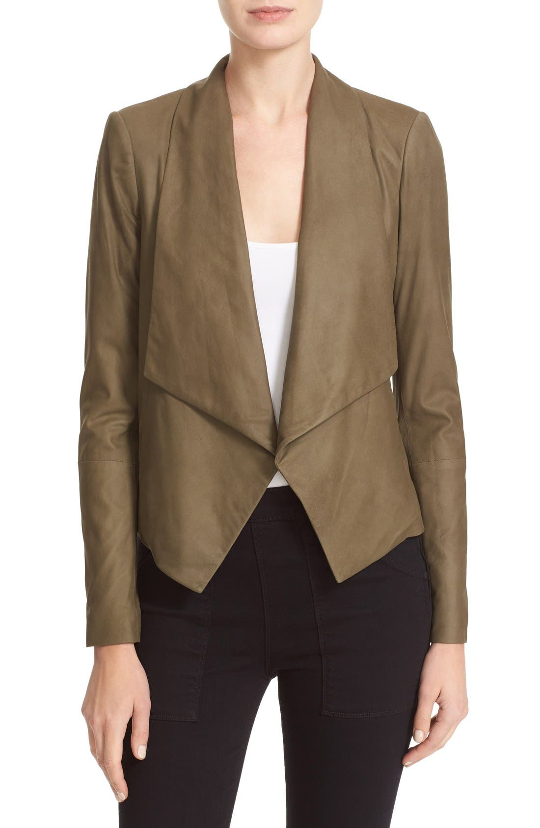 Alice + Olivia 'Warren' Short Drape Front Leather Jacket