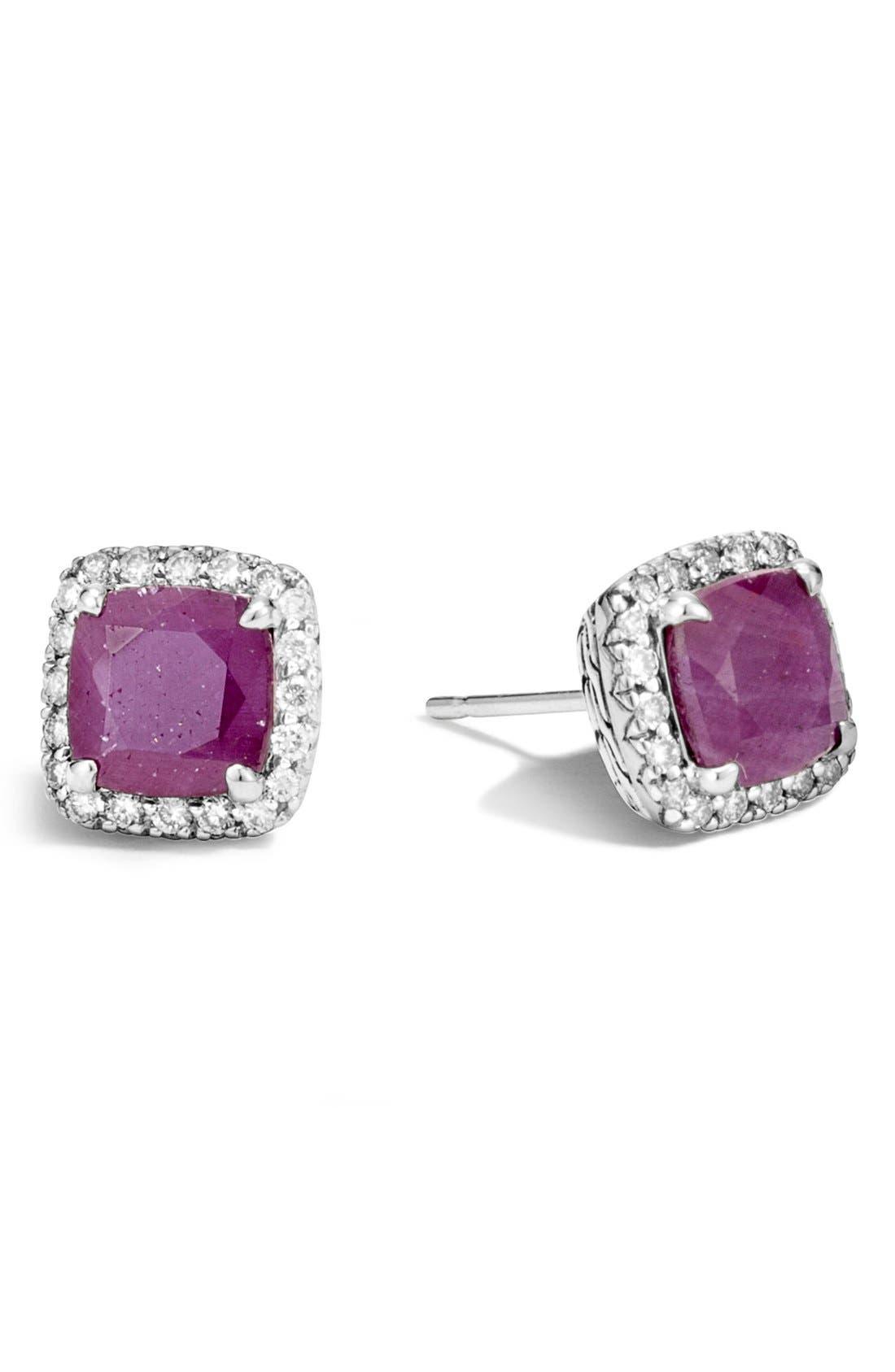 John Hardy Classic Chain - Batu Precious Stone & Pavé Diamond Stud Earrings