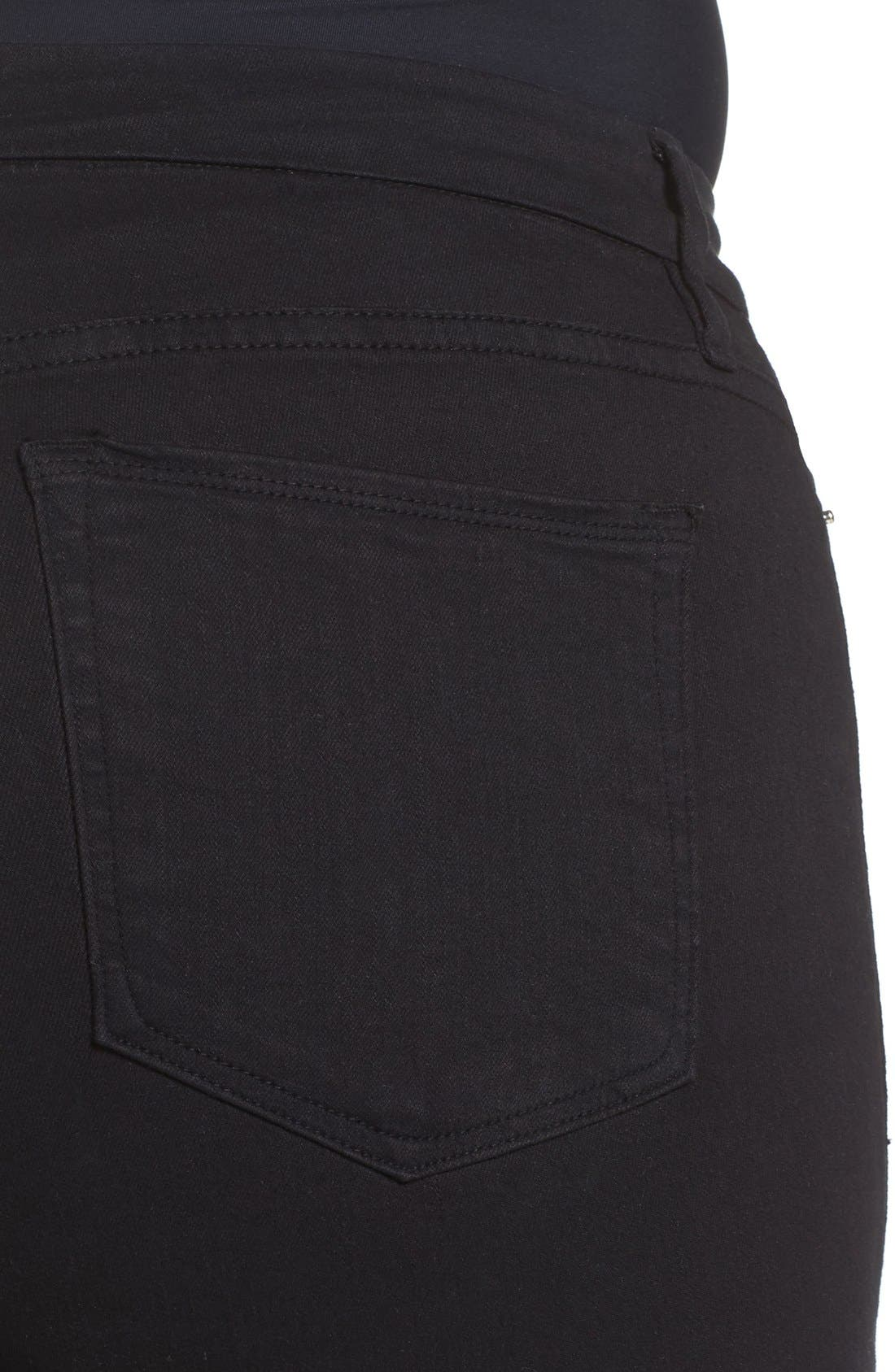 Alternate Image 8  - Good American Good Legs High Rise Ripped Skinny Jeans (Black 002)