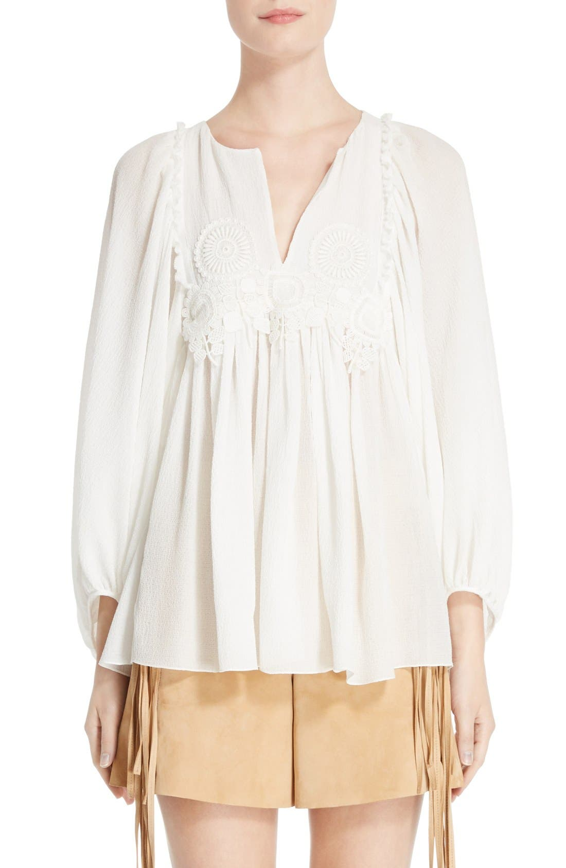 CHLOÉ Lace Trim Crepe Blouse