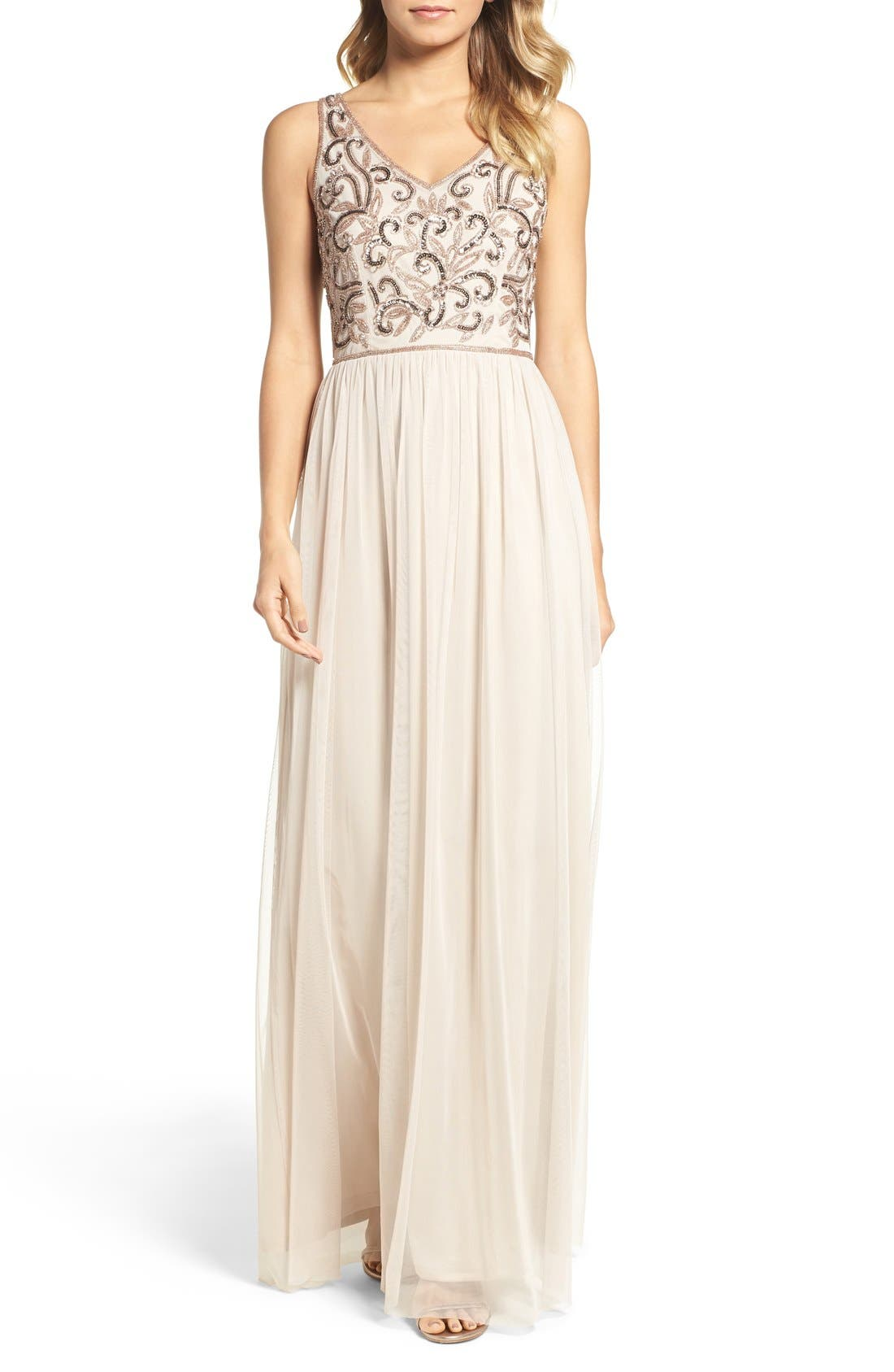 Main Image - Adrianna Papell V-Neck Embroidered Bodice Gown