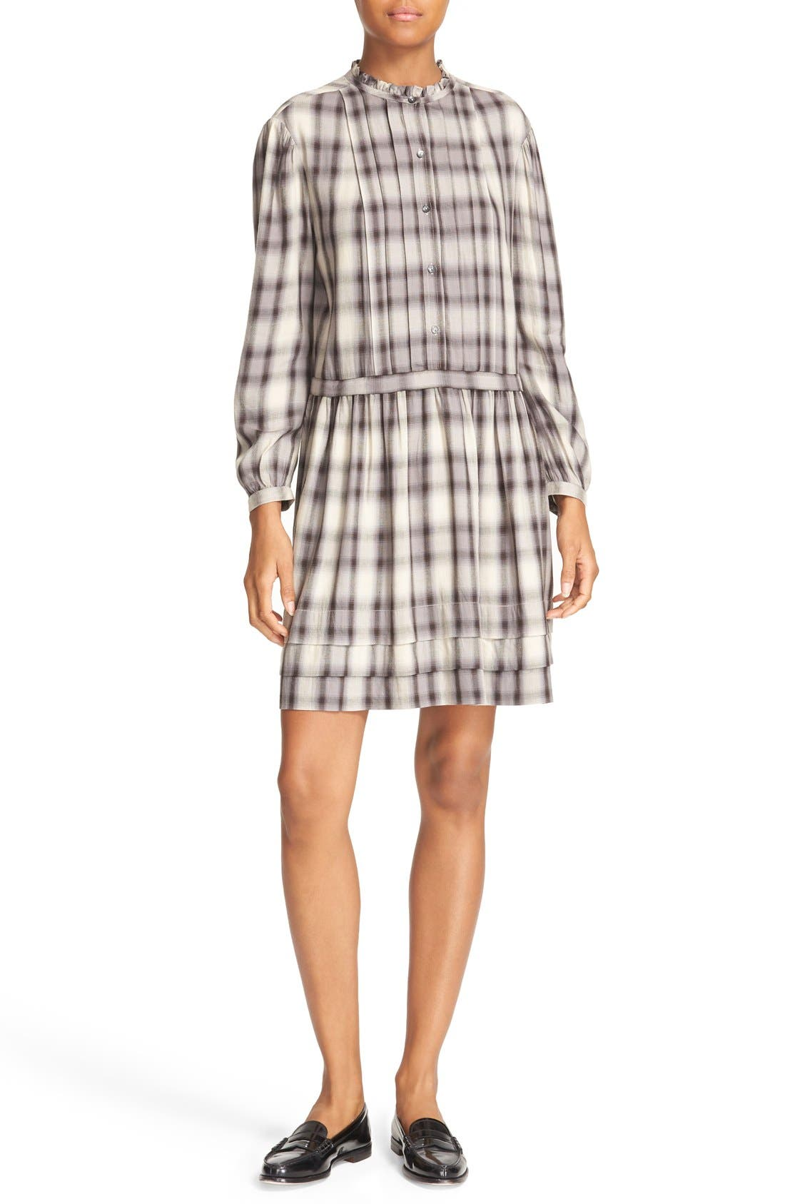 LA VIE REBECCA TAYLOR Plaid Pleated Shirtdress