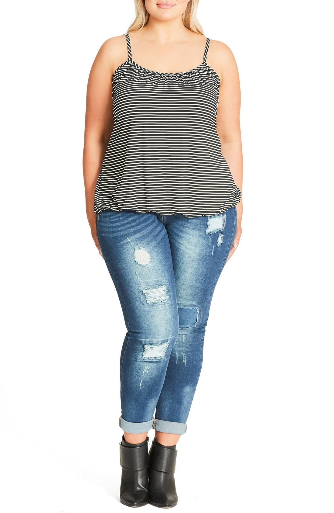 Main Image - City Chic Stripe Bubble Hem Camisole (Plus Size)