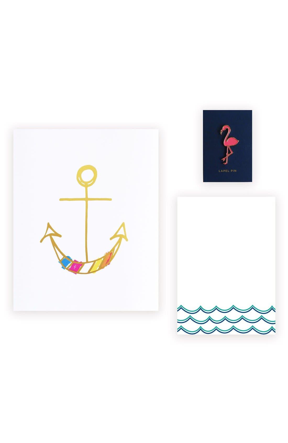 lake + loft Happy Anchor Art Print, Notepad & Lapel Pin Set
