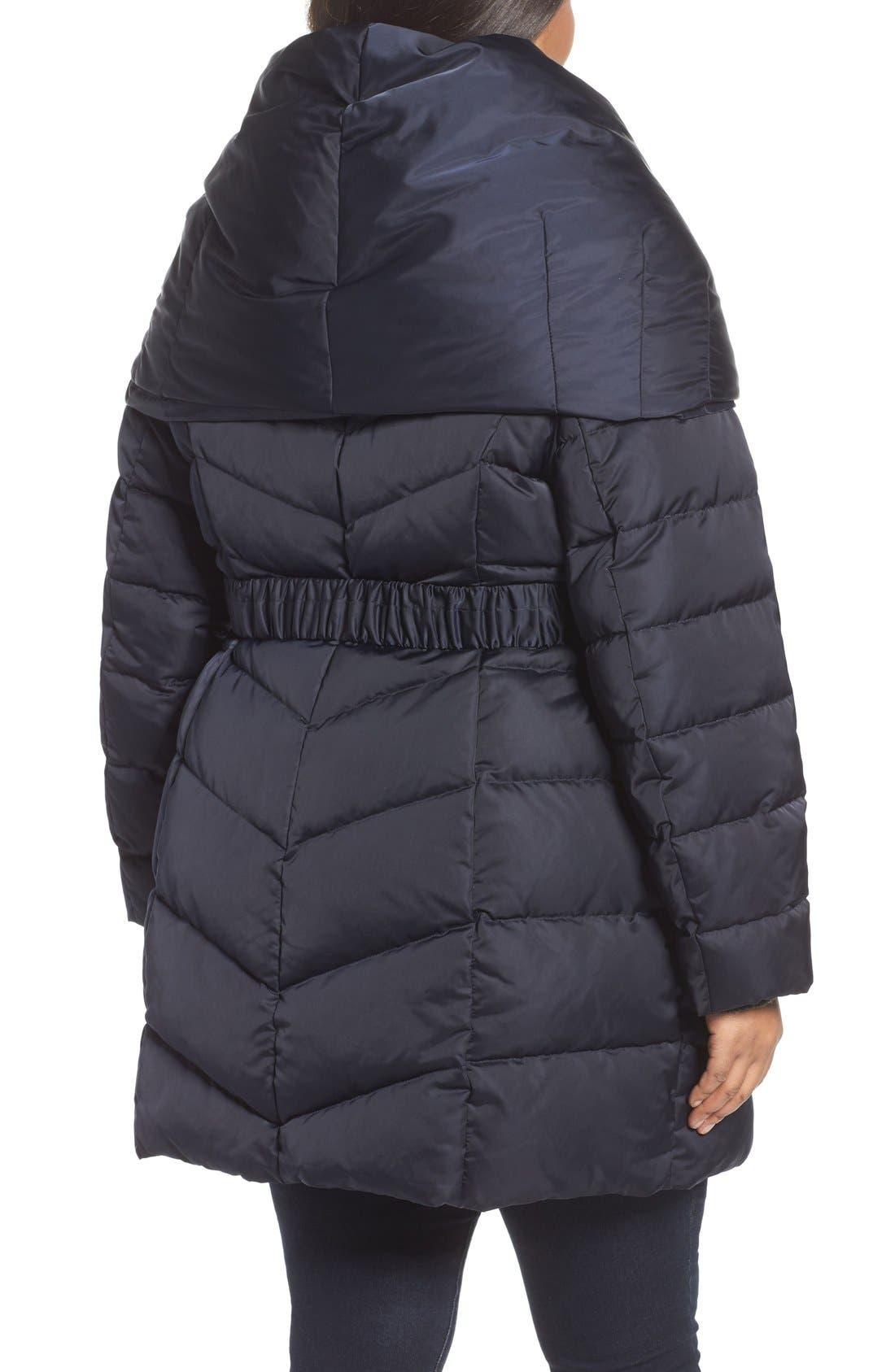 Alternate Image 2  - Tahari Matilda Shawl Collar Quilted Coat (Plus Size)