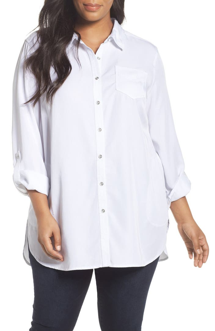 Sejour Chambray Tunic Shirt Plus Size Nordstrom