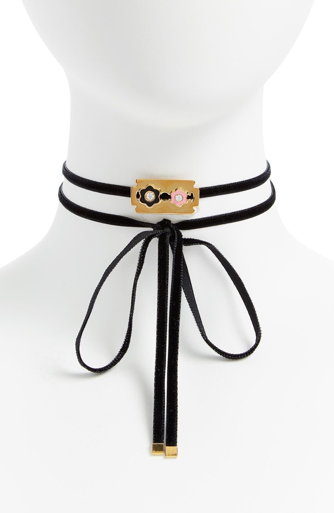 JIWINAIA Razor Blade Ribbon Choker/Bracelet