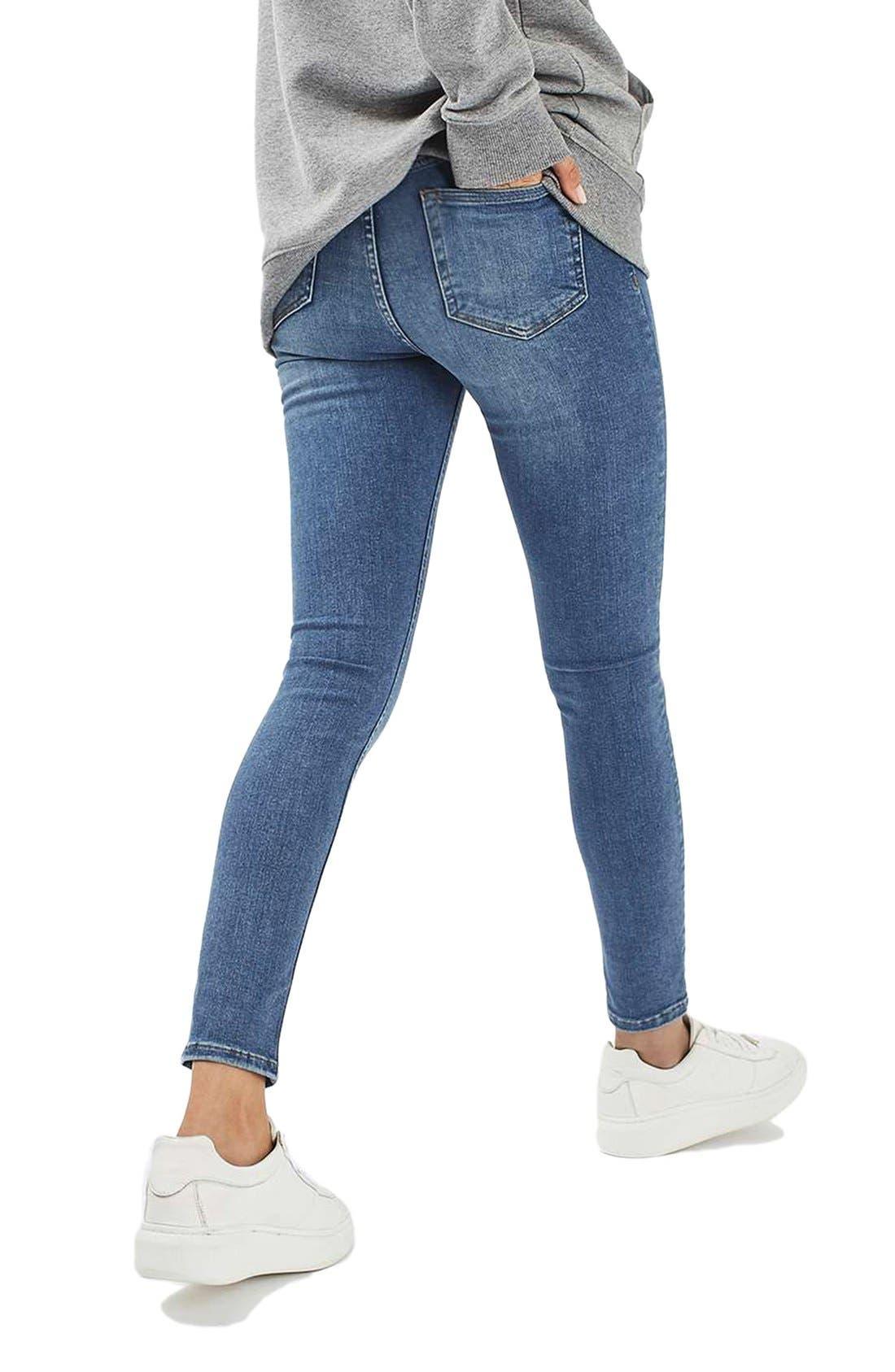 Alternate Image 2  - Topshop Jamie High Waist Crop Skinny Jeans (Blue Green)