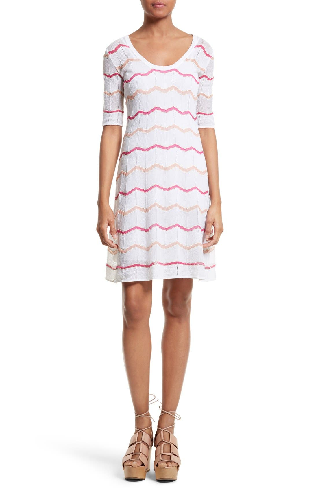 M MISSONI Zigzag Knit A-Line Dress