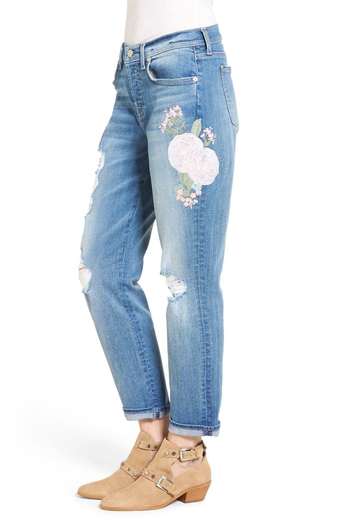 Alternate Image 4  - 7 For All Mankind® Josefina Embroidered Boyfriend Jeans (Denim Embroidery Botanical)