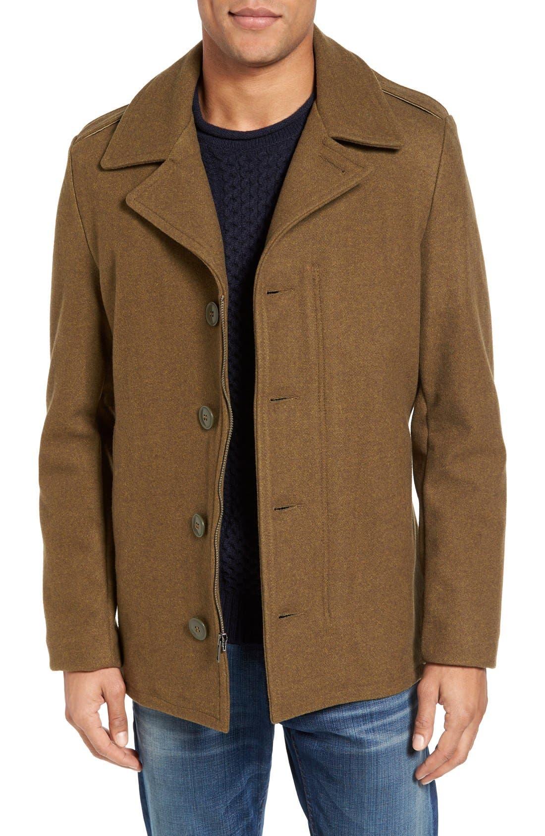 SCHOTT NYC Slim Fit Wool Military Jacket