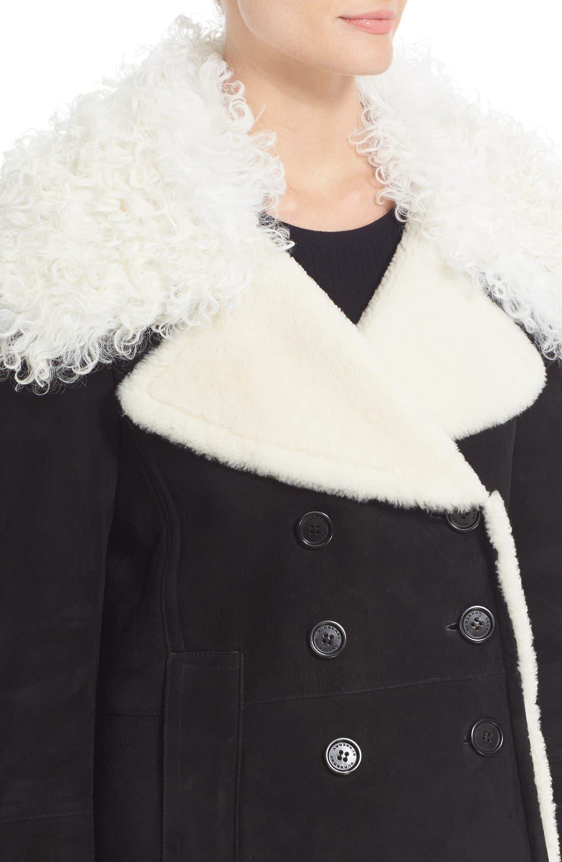 Alternate Image 6  - Burberry Norhurst Suede Coat with Genuine Shearling Trim