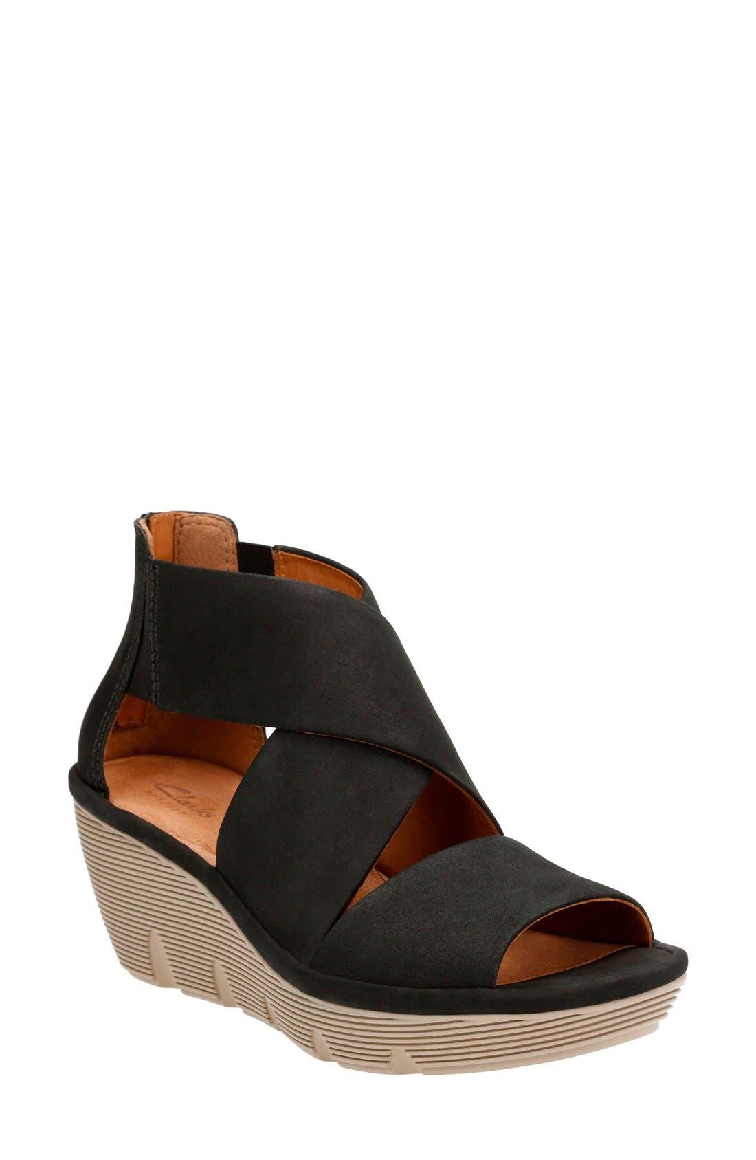 Alternate Image 1 Selected - Clarks® Clarene Glamor Wedge Sandal (Women)