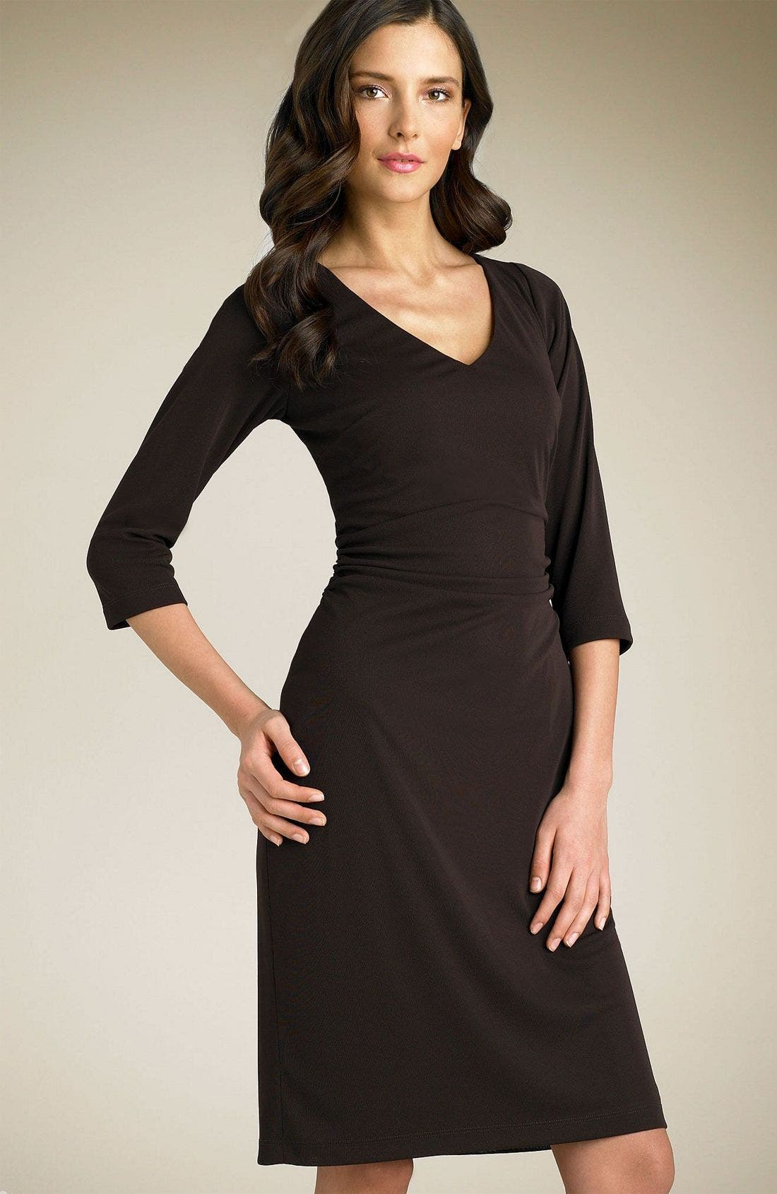Main Image - David Meister Ruched V-Neck Matte Jersey Dress