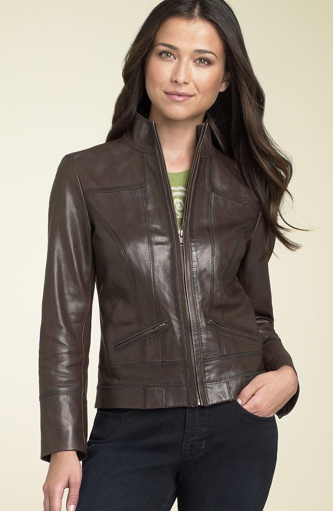 Alternate Image 1 Selected - Caslon® Distressed Leather Jacket