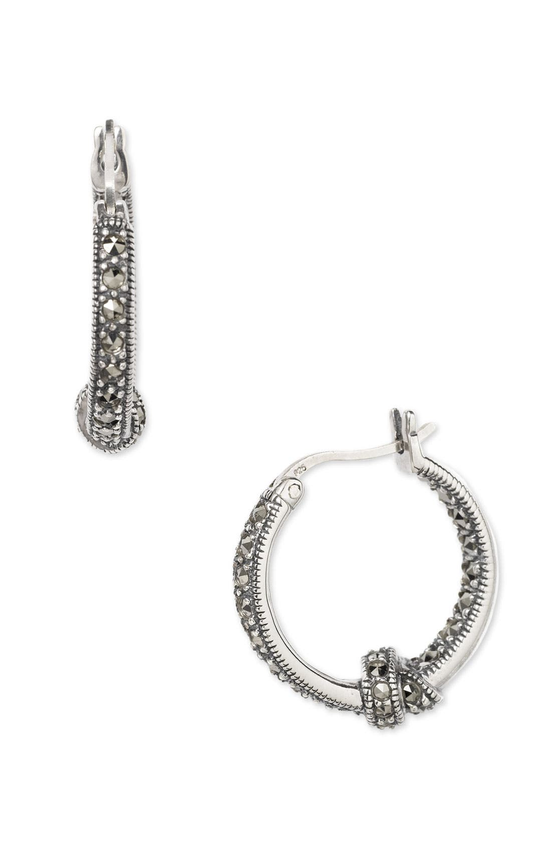 Main Image - Judith Jack Marcasite Hoop Earrings with Knot Detail
